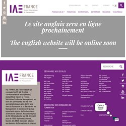 - IAE FRANCE - Les Écoles Universitaires de Management
