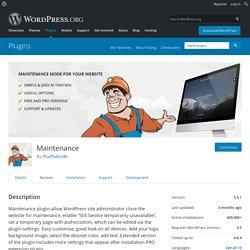Maintenance — WordPress Plugins