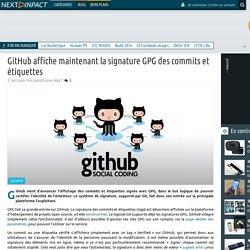 GitHub affiche maintenant la signature GPG des commits et étiquettes