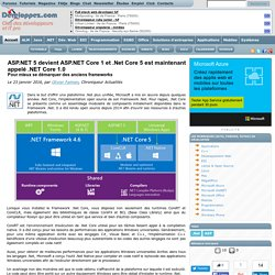 ASP.NET 5 devient ASP.NET Core 1 et .Net Core 5 est maintenant appelé .NETCore1.0 pour mieux se démarquer des anciens frameworks
