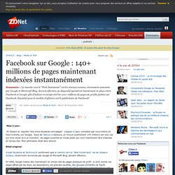 Facebook sur Google : 100+ millions de pages maintenant indexées