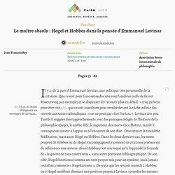 Le maître absolu: Hegel et Hobbes dans la pensée d'Emmanuel Levinas