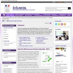 Littérature - Listes de référence et ressources