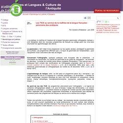 Les TICE au service de la maîtrise de la langue française : panorama des pratiques