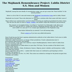 The Majdanek Remembrance Project: Lublin District S.S. Men and Women