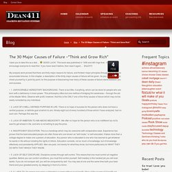 """The 30 Major Causes of Failure -""""Think and Grow Rich"""""""