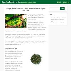 3 Major Types of Green Tea: Choose the Best Green Tea Type to Your Taste