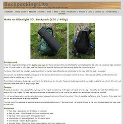 Make an Ultralight Backpack
