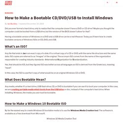 How to Make a Bootable CD/DVD/USB to Install Windows
