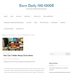 How to make money working from home