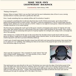 Make your own lightweight Backpack