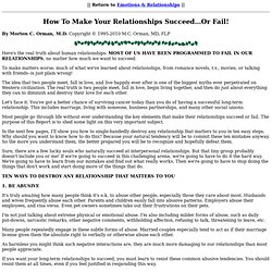 How To Make Your Relationships Succeed...Or Fail!