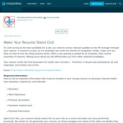 Make Your Resume Stand Out!: inanurse