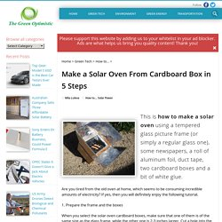 Make a Solar Oven From Cardboard Box in 5 Steps
