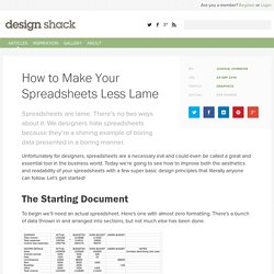 How to Make Your Spreadsheets Less Lame