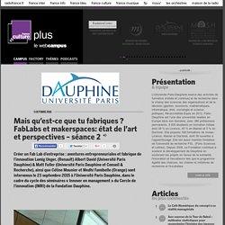 Mais qu'est-ce que tu fabriques ? FabLabs et makerspaces: état de l'art et perspectives – séance 2 / PARIS DAUPHINE