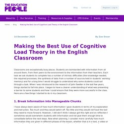 Making the Best Use of Cognitive Load Theory in the Classroom