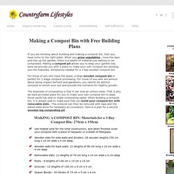 Making A Compost Bin With Free Plans