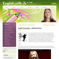 English Conversation – Making Decisions