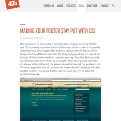 Making Your Footer Stay Put With CSS