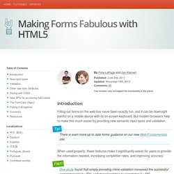 Making Forms Fabulous with HTML5