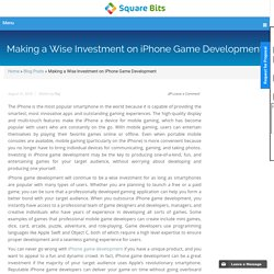 Making a Wise Investment on iPhone Game Development