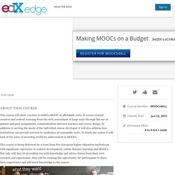 Making MOOCs on a Budget