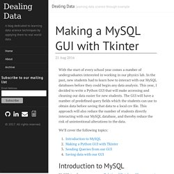 Making a MySQL GUI with Tkinter · Dealing Data