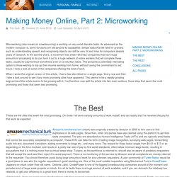 Making Money Online, Part 2: Microworking