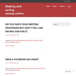 Making and saving money online