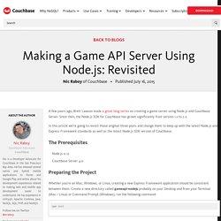 Making a Game API Server Using Node.js: Revisited