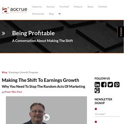 Making The Shift To Earnings Growth