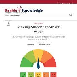 Making Student Feedback Work