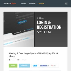 Making A Cool Login System With PHP, MySQL & jQuery | Tutorialzine