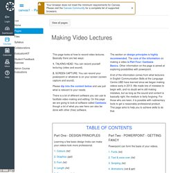 Making Video Lectures: Canvas1