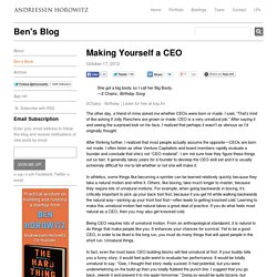 Making Yourself a CEO