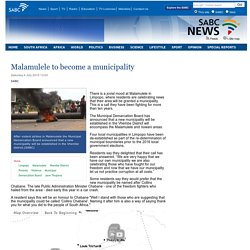 Malamulele to become a municipality:Saturday 4 July 2015