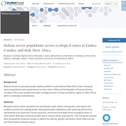 MALARIA JOURNAL 08/04/16 Malaria vector populations across ecological zones in Guinea Conakry and Mali, West Africa