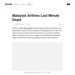 Malaysia Airlines Last Minute Deals