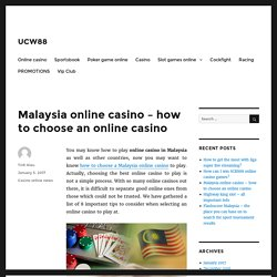 Malaysia online casino – how to choose an online casino