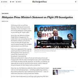 Malaysian Prime Minister's Statement on Flight 370 Investigation