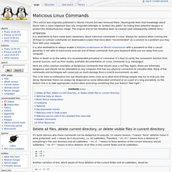 Malicious Linux Commands -