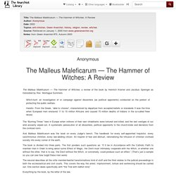 The Malleus Maleficarum — The Hammer of Witches: A Review