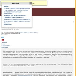 CE: Malnutrition in Older Adults : AJN The American Journal of Nursing