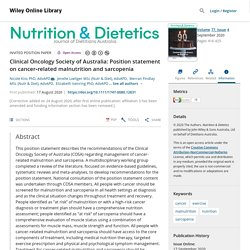 Clinical Oncology Society of Australia: Position statement on cancer‐related malnutrition and sarcopenia - Kiss - 2020 - Nutrition & Dietetics