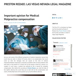Important opinion for Medical Malpractice compensation