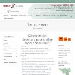 Recrutement - Respect Seniors - Agence Wallonne de lutte contre la maltraitance des aînés.