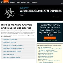 Free Malware Analysis Training Class from Cybrary
