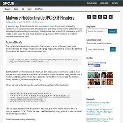 Malware Hidden Inside JPG EXIF Headers