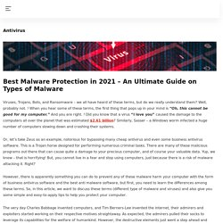The best Malware protection softwares in 2021